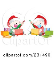 Royalty Free RF Clipart Illustration Of Cute Baby Twins Opening Christmas Presents