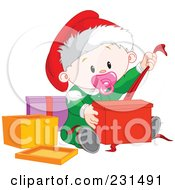 Royalty Free RF Clipart Illustration Of A Cute Baby Girl Opening Christmas Presents by Pushkin