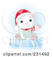 Royalty Free RF Clipart Illustration Of A Cute Christmas Polar Bear Waving And Sitting On Ice In The Snow