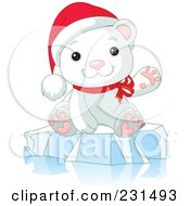 Royalty Free RF Clipart Illustration Of A Cute Christmas Polar Bear Waving And Sitting On Ice