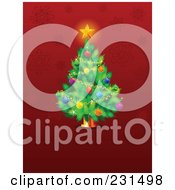 Christmas Tree Over A Red Snowflake Background