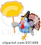Royalty Free RF Clipart Illustration Of A Thanksgiving Turkey Bird Wearing A Pilgrim Hat And Holding A Blank Yellow Sign