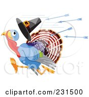 Royalty Free RF Clipart Illustration Of A Thanksgiving Turkey Bird Losing A Pilgrim Hat While Running From Arrows by Pushkin