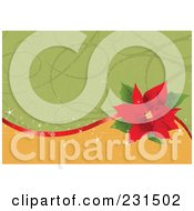 Royalty Free RF Clipart Illustration Of A Green And Gold Christmas Background With A Red Ribbon And Poinsettia