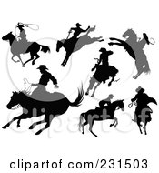 Digital Collage Of Cowboy Silhouettes With Horses