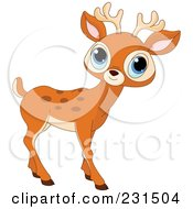 Royalty Free RF Clipart Illustration Of A Cute Little Blue Eyed Deer by Pushkin