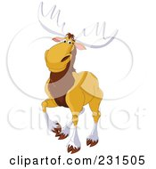 Royalty Free RF Clipart Illustration Of A Handsome Elk Walking by Pushkin