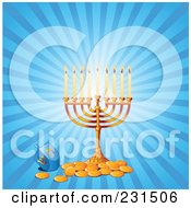 Hanukkah Menorah With Gold Coins And A Driedel On Blue Rays