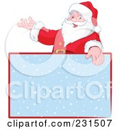 Royalty Free RF Clipart Illustration Of Santa Over A Blank Blue Snow Sign