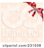 Royalty Free RF Clip Art Illustration Of A Red Ribbon Bow Over A Pink Snowflake Gift Lid by Pushkin
