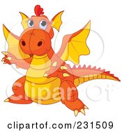 Royalty Free RF Clipart Illustration Of A Cute Orange And Yellow Dragon Gesturing To The Left