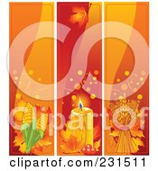 Royalty Free RF Clipart Illustration Of A Digital Collage Of Corn Candle And Wheat Thanksgiving Banners by Pushkin