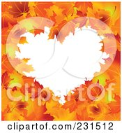Royalty Free RF Clip Art Illustration Of A Heart Frame Of Autumn Leaves Around White Space by Pushkin