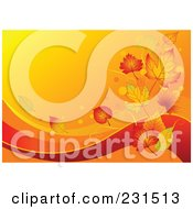 Royalty Free RF Clipart Illustration Of An Autumn Wave Background With Leaves