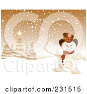 Royalty Free RF Clipart Illustration Of A Happy Snowman In A Golden Christmas Winter Landscape by Pushkin