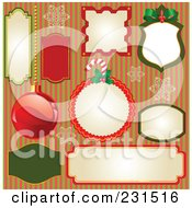 Royalty Free RF Clipart Illustration Of A Digital Collage Of Christmas Labels Over Stripes