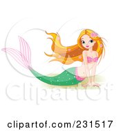 Royalty Free RF Clipart Illustration Of A Beautiful Mermaid Resting On Sand by Pushkin