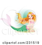 Royalty Free RF Clipart Illustration Of A Pretty Mermaid Resting On Sand by Pushkin