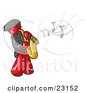 Clipart Illustration Of A Musical Red Man Playing Jazz With A Saxophone