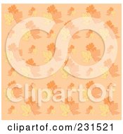 Royalty Free RF Clipart Illustration Of An Autumn Leaf On Beige Pattern Background