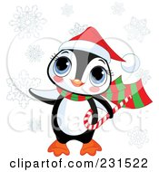 Royalty Free RF Clipart Illustration Of A Cute Christmas Penguin Carrying A Candy Cane In The Snow by Pushkin
