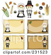 Royalty Free RF Clipart Illustration Of A Digital Collage Of Sewn Folk Art Styled Pilgrim Labels