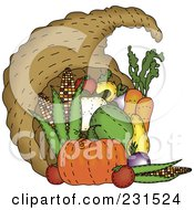 Royalty Free RF Clipart Illustration Of A Sewn Folk Art Styled Cornucopia by inkgraphics