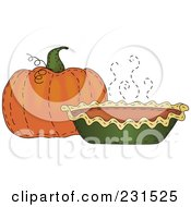 Royalty Free RF Clipart Illustration Of A Sewn Folk Art Styled Pumpkin And Pumpkin Pie by inkgraphics