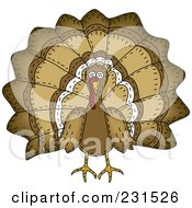 Royalty Free RF Clipart Illustration Of A Sewn Folk Art Styled Turkey Bird by inkgraphics