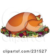 Royalty Free RF Clipart Illustration Of A Sewn Folk Art Styled Stuffed Roasted Thanksgiving Turkey by inkgraphics