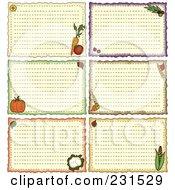 Digital Collage Of Six Folk Art Vegetable Recipe Cards