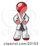 Clipart Illustration Of A Tough Red Man In A White Karate Suit And A Black Belt Standing With His Hands On His Hips by Leo Blanchette