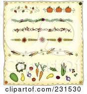 Digital Collage Of Folk Art Thanksgiving Dividers On Beige by inkgraphics