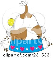 Royalty Free RF Clipart Illustration Of A Cute Puppy Dog Eating With His Head Deep In A Bowl