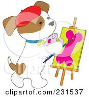 Royalty Free RF Clipart Illustration Of A Cute Puppy Dog Painting A Dog Bone On Canvas by Maria Bell