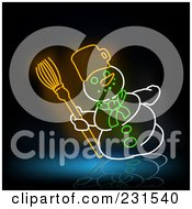 Royalty Free RF Clipart Illustration Of A Neon Snowman With A Broom On Black And Blue