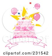 Royalty Free RF Clipart Illustration Of A Pink Birthday Cake With A Cherry Star And Balloons