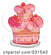 Royalty Free RF Clipart Illustration Of A Pink Birthday Cake With Cherries by Hit Toon