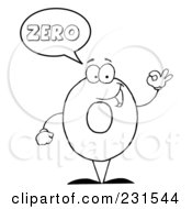 Royalty Free RF Clipart Illustration Of A Coloring Page Outline Of A Number Zero Character Saying Zero