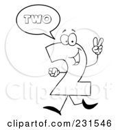 Royalty Free RF Clipart Illustration Of A Coloring Page Outline Of A Number Two Character Saying Two by Hit Toon
