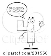 Royalty Free RF Clipart Illustration Of A Coloring Page Outline Of A Number Four Character Saying Four by Hit Toon