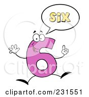 Royalty Free RF Clipart Illustration Of A Number Six Character Saying Six by Hit Toon