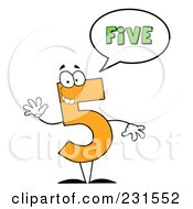 Royalty Free RF Clipart Illustration Of A Number Five Character Saying Five by Hit Toon