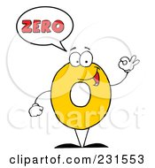 Royalty Free RF Clipart Illustration Of A Number Zero Character Saying Zero