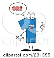 Royalty Free RF Clipart Illustration Of A Number One Character Saying One by Hit Toon