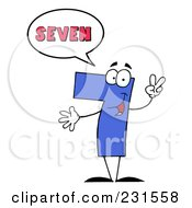 Royalty Free RF Clipart Illustration Of A Number Seven Character Saying Seven by Hit Toon