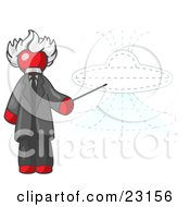 Clipart Illustration Of A Red Einstein Man Pointing A Stick At A Presentation Of A Flying Saucer
