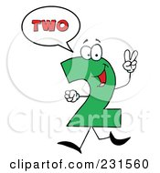 Royalty Free RF Clipart Illustration Of A Number Two Character Saying Two by Hit Toon