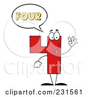 Royalty Free RF Clipart Illustration Of A Number Four Character Saying Four by Hit Toon