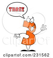 Royalty Free RF Clipart Illustration Of A Number Three Character Saying Three by Hit Toon